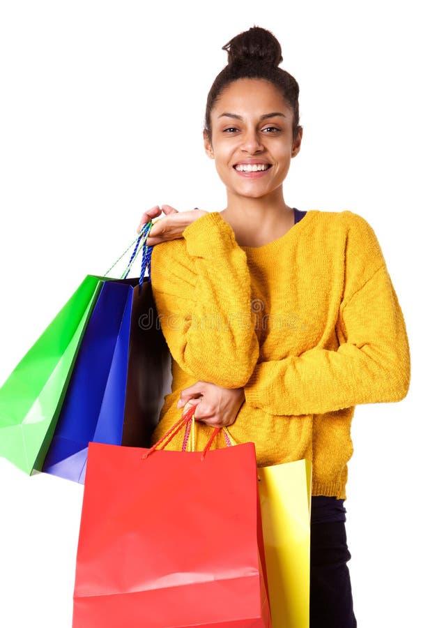 Όμορφος νέος αγοραστής αφροαμερικάνων στοκ εικόνα με δικαίωμα ελεύθερης χρήσης