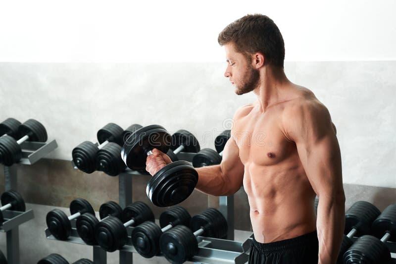 Όμορφος νέος αθλητής που επιλύει στη γυμναστική στοκ εικόνα
