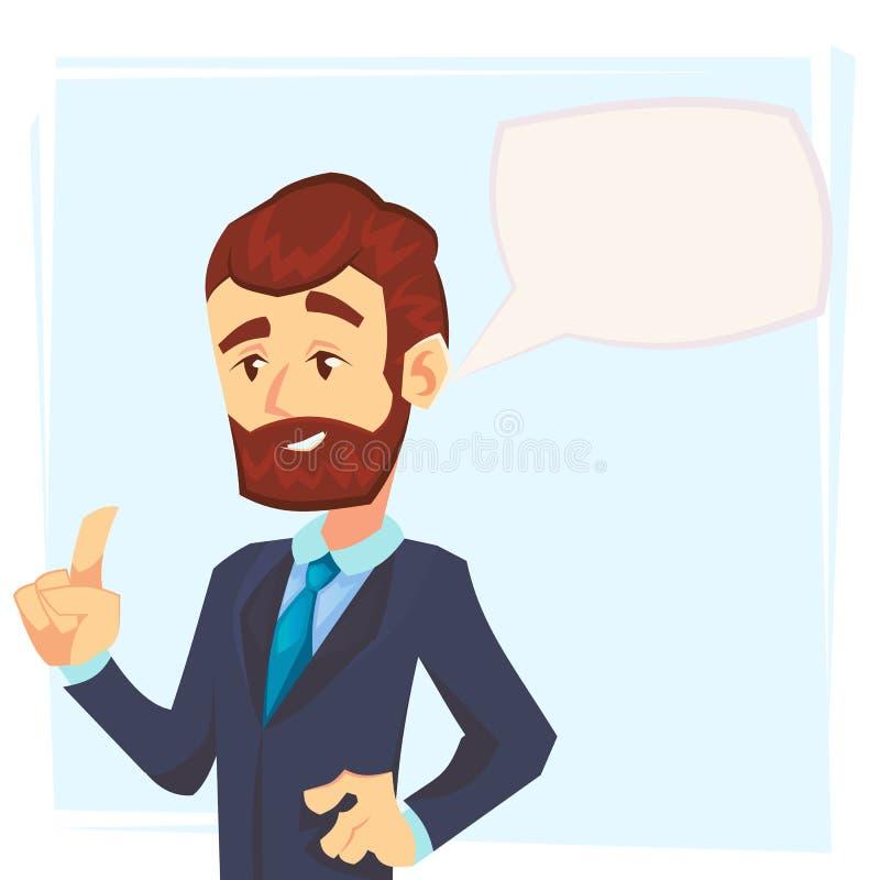 Όμορφος νέος επιχειρηματίας που κρατά ψηλά το αντίχειρα του και που δίνει τις συμβουλές Ελκυστικός διευθυντής που μιλά με τη λεκτ απεικόνιση αποθεμάτων