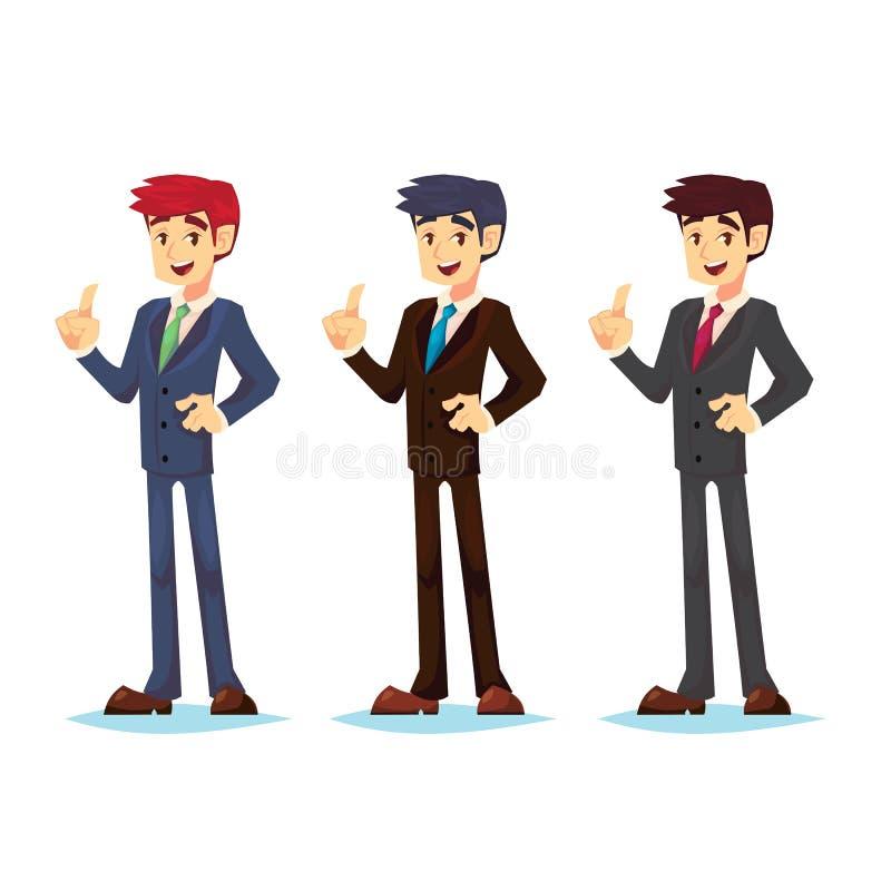 Όμορφος νέος να κρατήσει ψηλά χρώματος επιχειρηματιών καθορισμένος αντίχειρας και παροχή των συμβουλών Ελκυστική ιδέα ομιλίας διε απεικόνιση αποθεμάτων