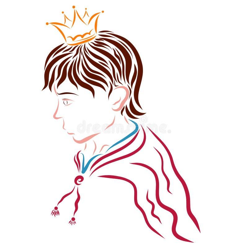 Όμορφος νέος πρίγκηπας στην κορώνα και το αδιάβροχο διανυσματική απεικόνιση