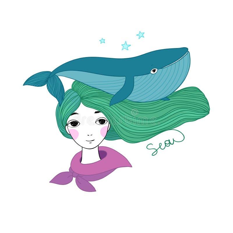 Όμορφος ναυτικός νέων κοριτσιών με μια φάλαινα και αστέρι στην τρίχα της απεικόνιση αποθεμάτων