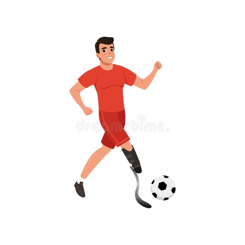 Όμορφος νεαρός άνδρας με το τεχνητό παίζοντας ποδόσφαιρο ποδιών Τύπος με τις φυσικές ειδικές ανάγκες Επίπεδο διανυσματικό σχέδιο διανυσματική απεικόνιση