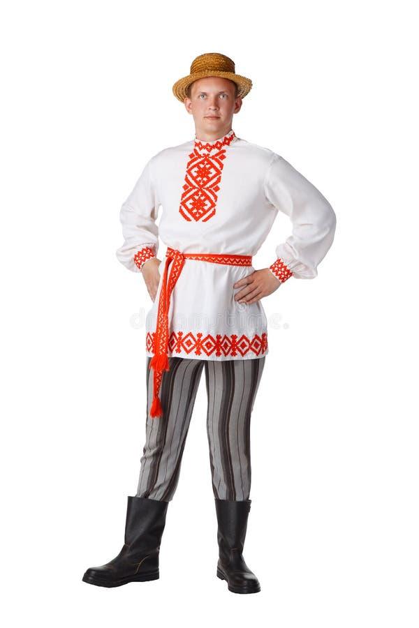 Όμορφος νεαρός άνδρας στο της Λευκορωσίας εθνικό κοστούμι στοκ φωτογραφίες