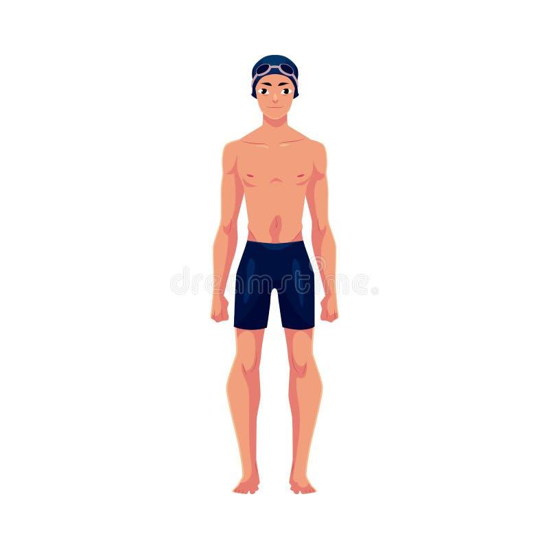 Όμορφος νεαρός άνδρας, κολυμβητής στο κολυμπώντας κοστούμι, ΚΑΠ και προστατευτικά δίοπτρα απεικόνιση αποθεμάτων