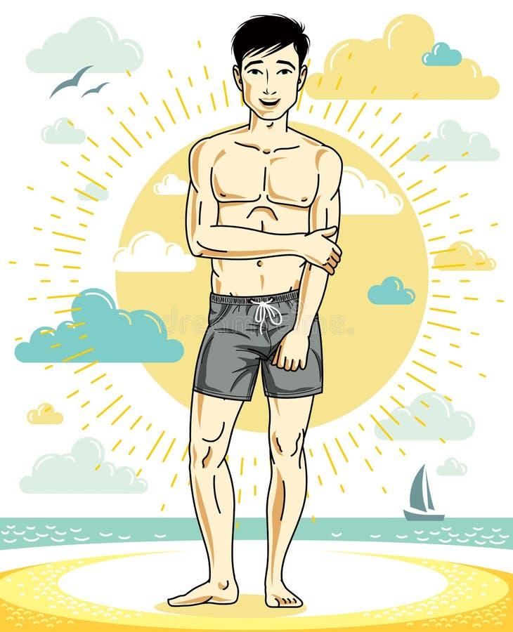 Όμορφος νεαρός άνδρας που στέκεται στην τροπική παραλία στα φωτεινά σορτς διανυσματική απεικόνιση