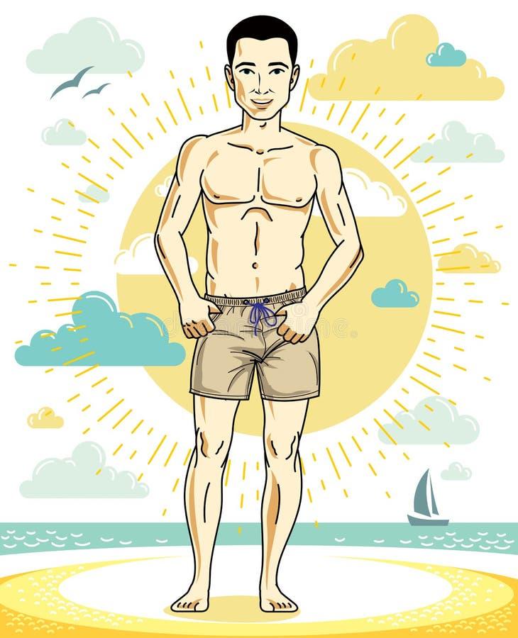 Όμορφος νεαρός άνδρας που στέκεται στην τροπική παραλία στα φωτεινά σορτς ελεύθερη απεικόνιση δικαιώματος
