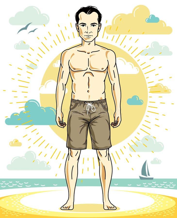 Όμορφος νεαρός άνδρας που στέκεται στην τροπική παραλία στα φωτεινά σορτς απεικόνιση αποθεμάτων