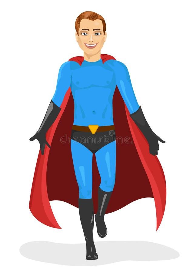 Όμορφος νεαρός άνδρας στο μπλε κοστούμι superhero που περπατά προς τα εμπρός διανυσματική απεικόνιση