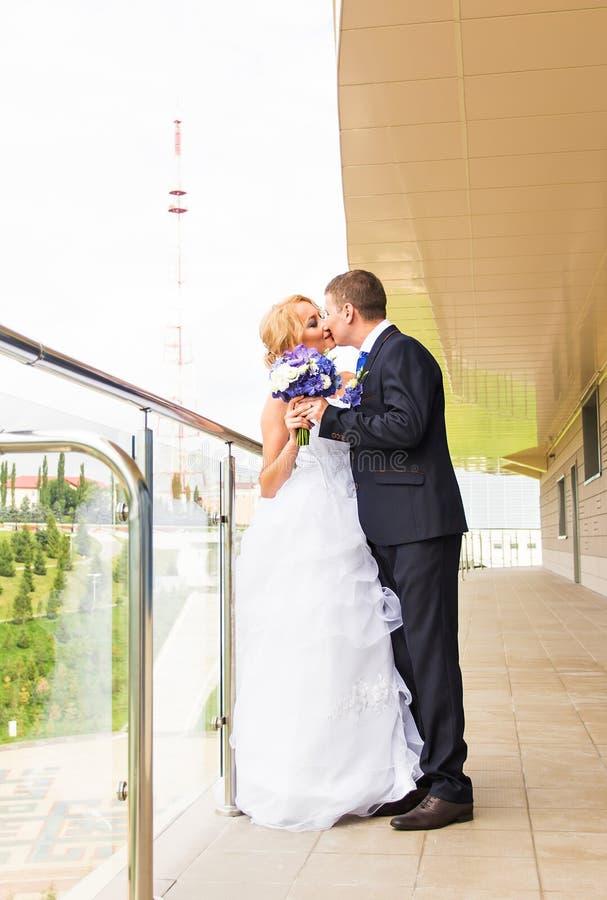Όμορφος νεόνυμφος brunette που φιλά την όμορφη νύφη στο γαμήλιο φόρεμα στοκ φωτογραφίες με δικαίωμα ελεύθερης χρήσης