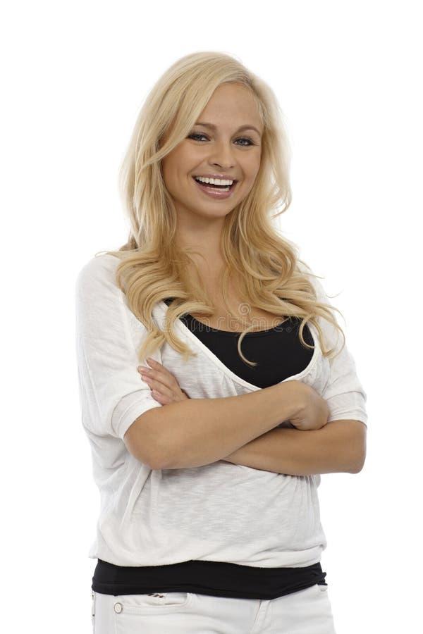 Όμορφος ξανθός με ένα φωτεινό χαμόγελο στοκ φωτογραφίες με δικαίωμα ελεύθερης χρήσης
