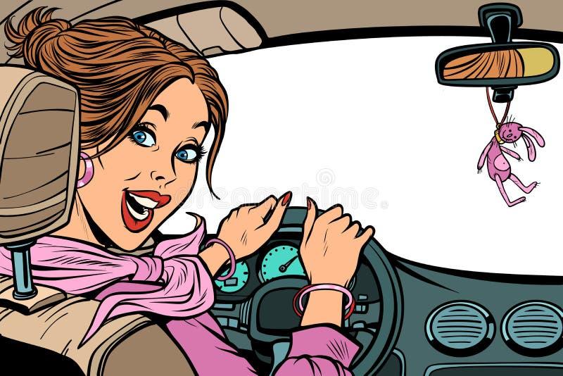Όμορφος οδηγός γυναικών στο αυτοκίνητο Απομονώστε σε ένα άσπρο υπόβαθρο E απεικόνιση αποθεμάτων