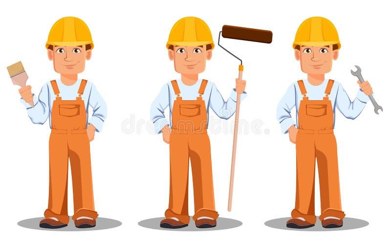 Όμορφος οικοδόμος σε ομοιόμορφο Επαγγελματικός εργάτης οικοδομών απεικόνιση αποθεμάτων