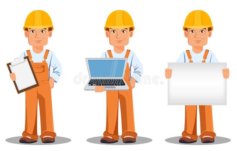 Όμορφος οικοδόμος σε ομοιόμορφο Επαγγελματικός εργάτης οικοδομών ελεύθερη απεικόνιση δικαιώματος