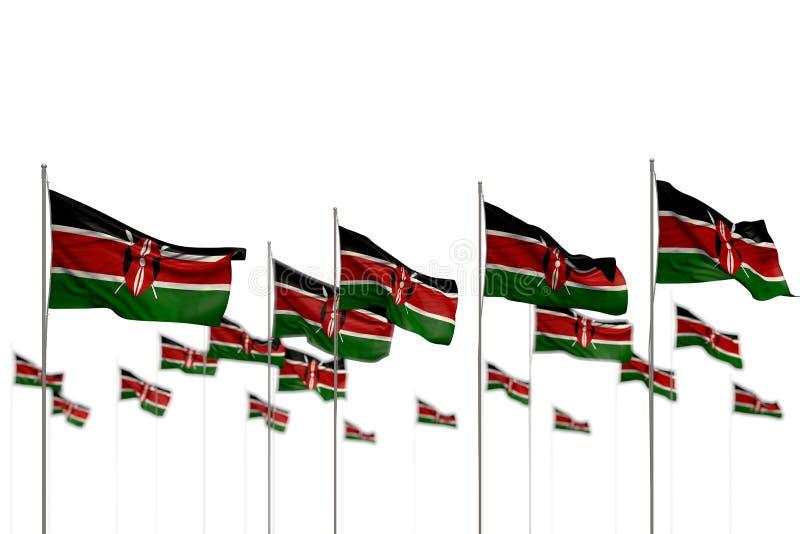 Όμορφος οποιαδήποτε τρισδιάστατη απεικόνιση σημαιών γιορτής - η Κένυα απομόνωσε τις σημαίες που τοποθετήθηκαν στη σειρά με την εκ απεικόνιση αποθεμάτων