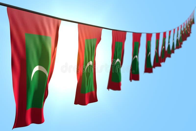 Όμορφος οποιαδήποτε τρισδιάστατη απεικόνιση σημαιών εορτασμού - πολλά σημαίες ή εμβλήματα των Μαλδίβες που κρεμούν τη διαγώνιος σ ελεύθερη απεικόνιση δικαιώματος