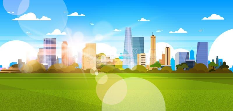 Όμορφος ορίζοντας πόλεων με το φως του ήλιου πέρα από το οριζόντιο έμβλημα έννοιας εικονικής παράστασης πόλης κτηρίων ουρανοξυστώ διανυσματική απεικόνιση