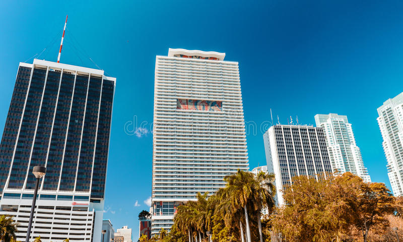 Όμορφος ορίζοντας του Μαϊάμι Κτήρια και ουρανοξύστες πόλεων στοκ εικόνα