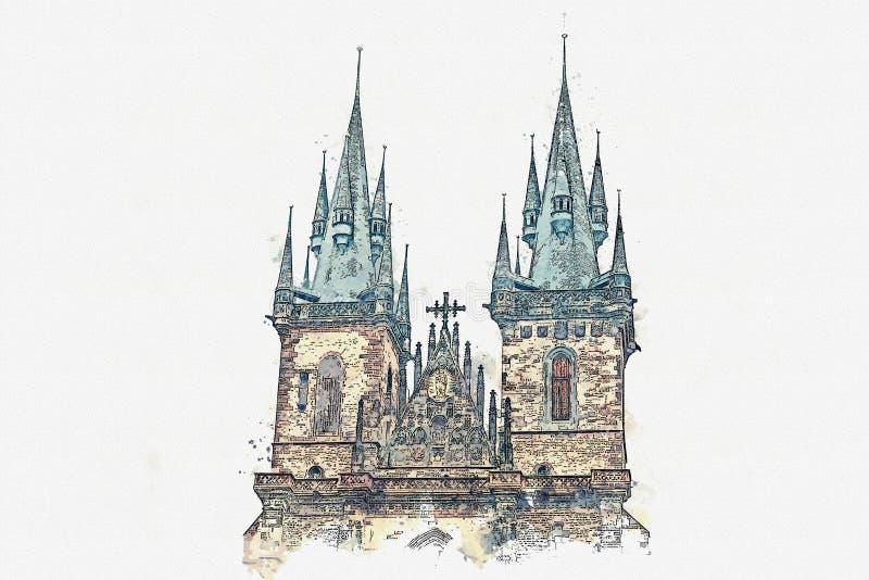 Όμορφος παλαιός ναός απεικόνισης στο κύριο τετράγωνο στην Πράγα διανυσματική απεικόνιση