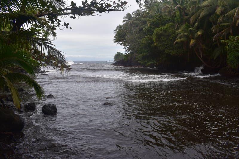 Όμορφος παράκτιος κολπίσκος στη Χαβάη με τα κύματα που συντρίβουν αργά στην ακτή στοκ εικόνα