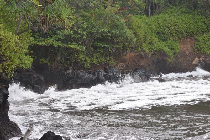 Όμορφος παράκτιος κολπίσκος στη Χαβάη με τα κύματα που συντρίβουν αργά στην ακτή στοκ φωτογραφίες