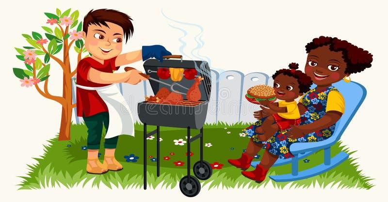 Όμορφος πατέρας και ισπανική μητέρα με το παιδί απεικόνιση αποθεμάτων