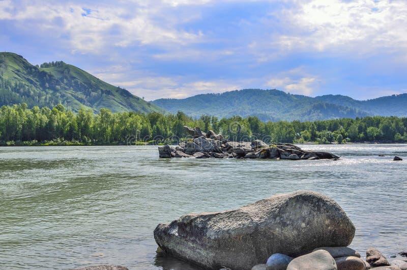 Όμορφος ποταμός βουνών - ηλιόλουστο θερινό τοπίο στοκ φωτογραφία με δικαίωμα ελεύθερης χρήσης