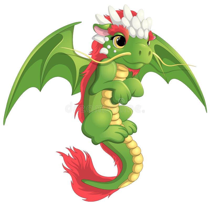 Όμορφος πράσινος δράκος ελεύθερη απεικόνιση δικαιώματος