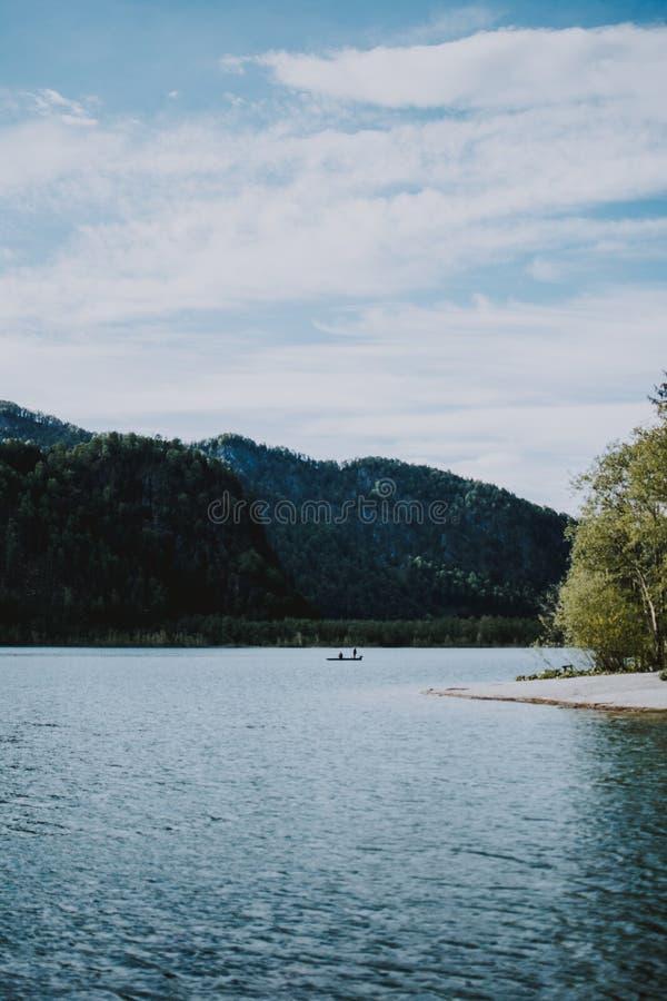 Όμορφος πυροβολισμός του τοπίου της λίμνης και του δάσους με την πρασινάδα στοκ εικόνα