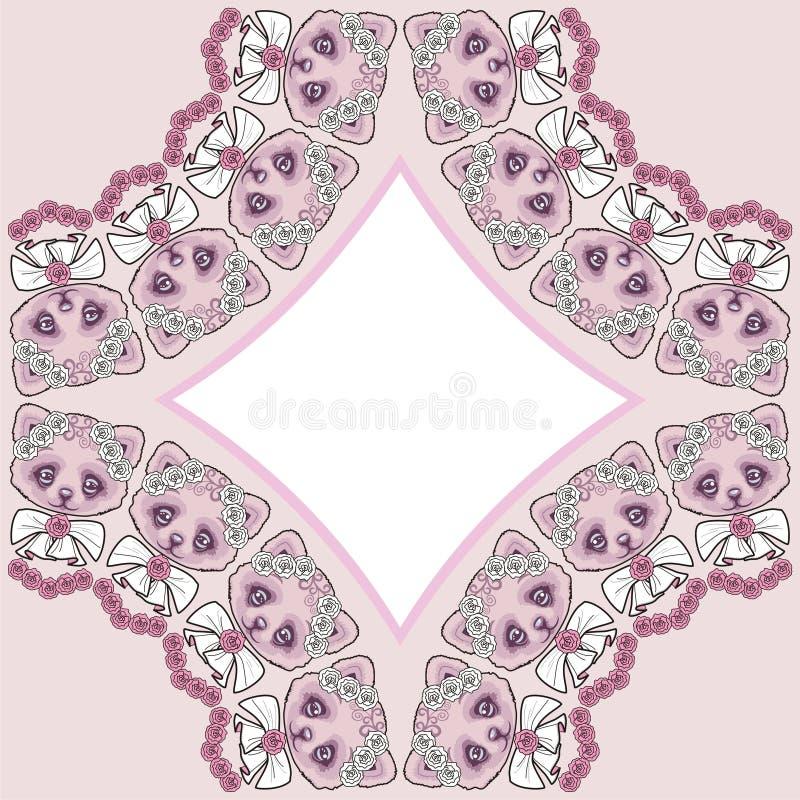 Όμορφος ρόμβος  πλαίσιο με μια γάτα και μια καρδιά, ροζ και χρώμα κρητιδογραφιών μεντών διανυσματική απεικόνιση