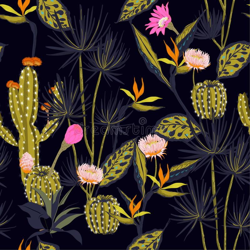 Όμορφος σκοτεινός summmer διανυσματικός τροπικός σχεδίων νύχτας άνευ ραφής, φ ελεύθερη απεικόνιση δικαιώματος