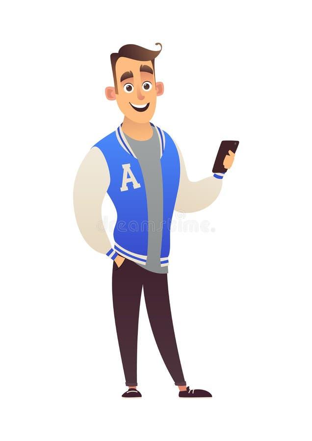 Όμορφος σπουδαστής τύπων στο σακάκι ποδοσφαίρου με το τηλέφωνο απεικόνιση αποθεμάτων