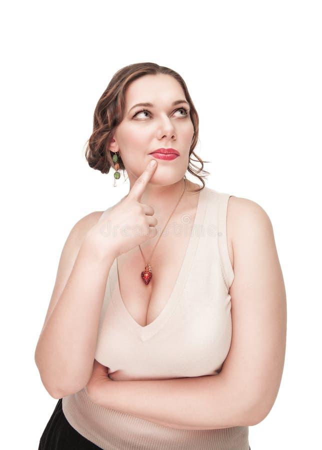 Όμορφος συν τη σκέψη γυναικών μεγέθους στοκ φωτογραφία με δικαίωμα ελεύθερης χρήσης