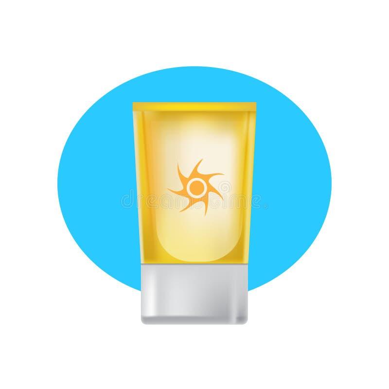 Όμορφος σωλήνας της suntan κρέμας, της φροντίδας δέρματος, της ομορφιάς και της υγείας διανυσματική απεικόνιση