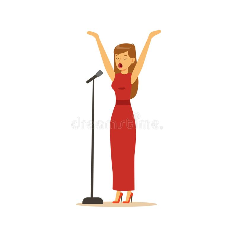 Όμορφος τραγουδιστής γυναικών στο κόκκινο φόρεμα που εκτελεί μια διανυσματική απεικόνιση τραγουδιού απεικόνιση αποθεμάτων
