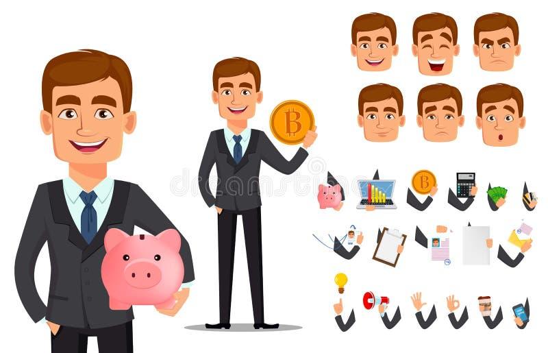 Όμορφος τραπεζίτης στο επιχειρησιακό κοστούμι διανυσματική απεικόνιση