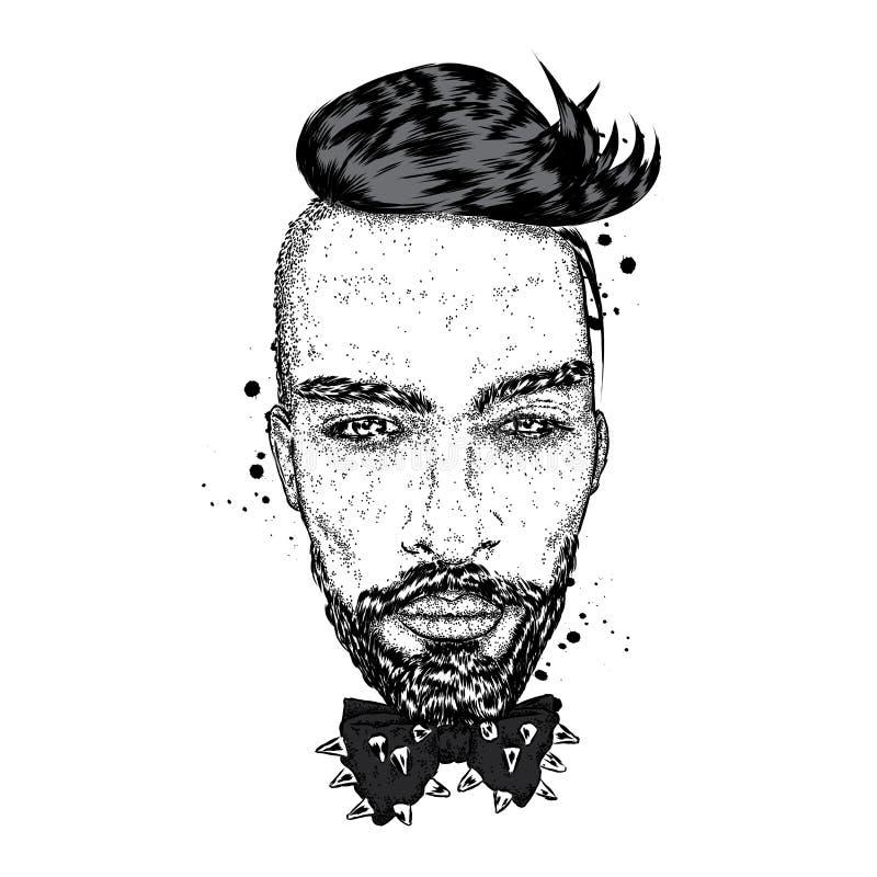 Όμορφος τύπος με ένα μοντέρνο hairstyle απεικόνιση αποθεμάτων