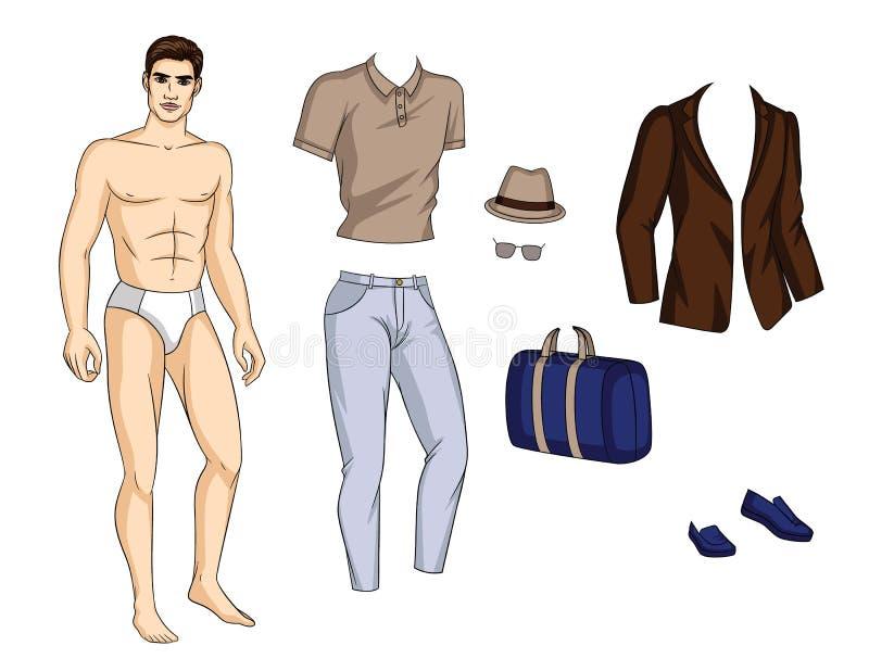 Όμορφος τύπος με τα παπούτσια, τα εσώρουχα, το πουκάμισο, το σακάκι και τα accsessories που απομονώνονται από το άσπρο υπόβαθρο διανυσματική απεικόνιση