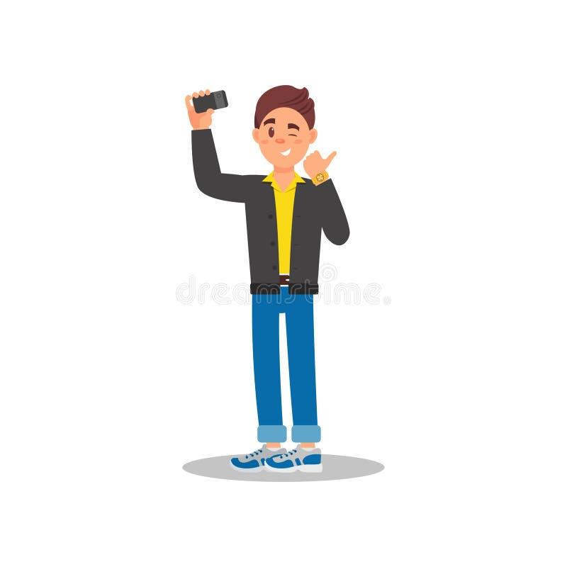 Όμορφος τύπος που παίρνει selfie με το τηλέφωνο κυττάρων του Μάτι κλεισίματος του ματιού νεαρών άνδρων και παρουσίαση αντίχειρα Ζ διανυσματική απεικόνιση