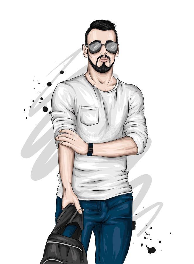 Όμορφος τύπος στα μοντέρνα ενδύματα και τα γυαλιά Διανυσματική απεικόνιση για τη ευχετήρια κάρτα ή την αφίσα Μόδα & ύφος διανυσματική απεικόνιση