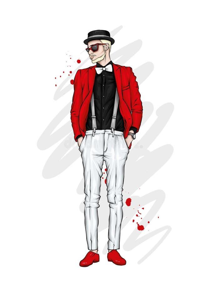 Όμορφος τύπος στα μοντέρνα ενδύματα και το καπέλο Hipster επίσης corel σύρετε το διάνυσμα απεικόνισης απεικόνιση αποθεμάτων