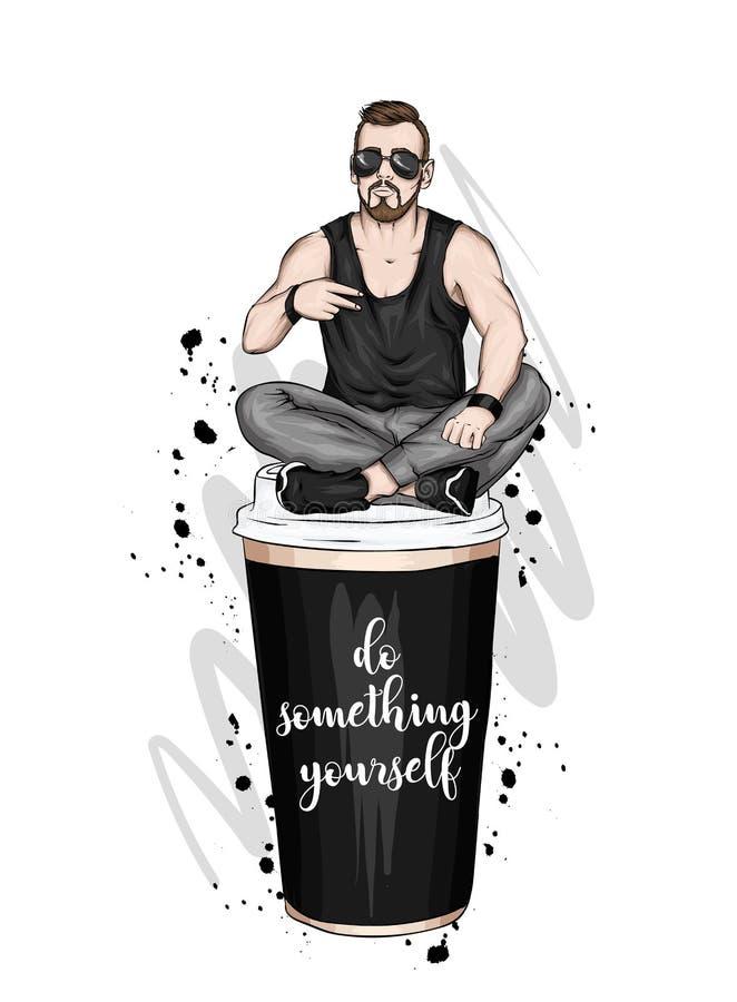 Όμορφος τύπος στα μοντέρνα ενδύματα Hipster r Ένα μεγάλο ποτήρι του καφέ r ελεύθερη απεικόνιση δικαιώματος