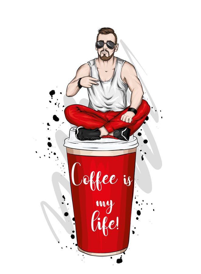 Όμορφος τύπος στα μοντέρνα ενδύματα Hipster r Ένα μεγάλο ποτήρι του καφέ r διανυσματική απεικόνιση