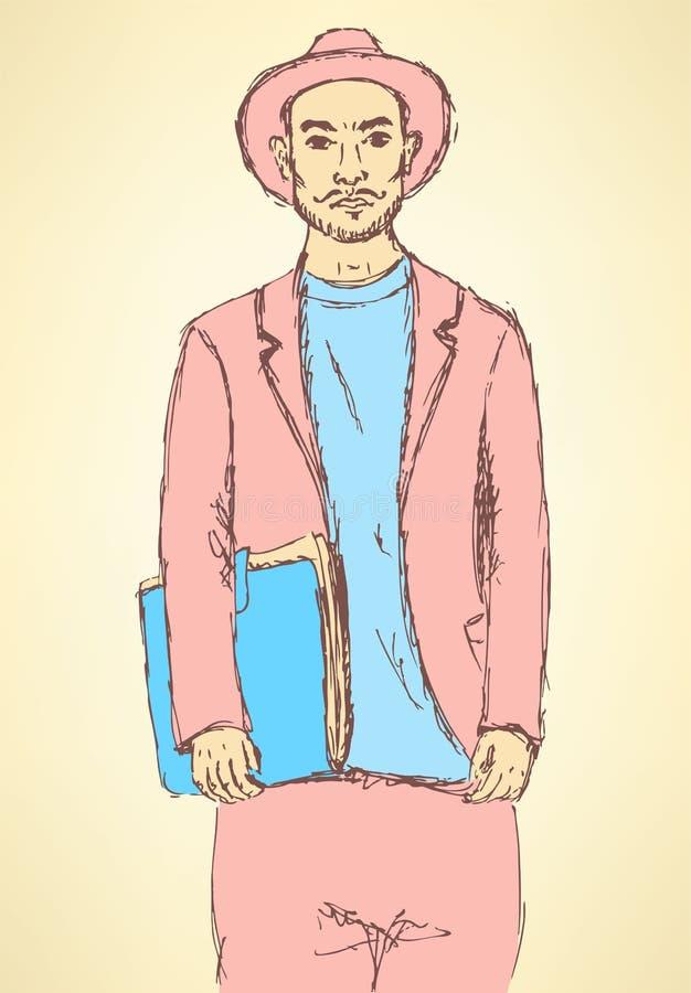 Όμορφος τύπος hipster σκίτσων στο εκλεκτής ποιότητας ύφος ελεύθερη απεικόνιση δικαιώματος