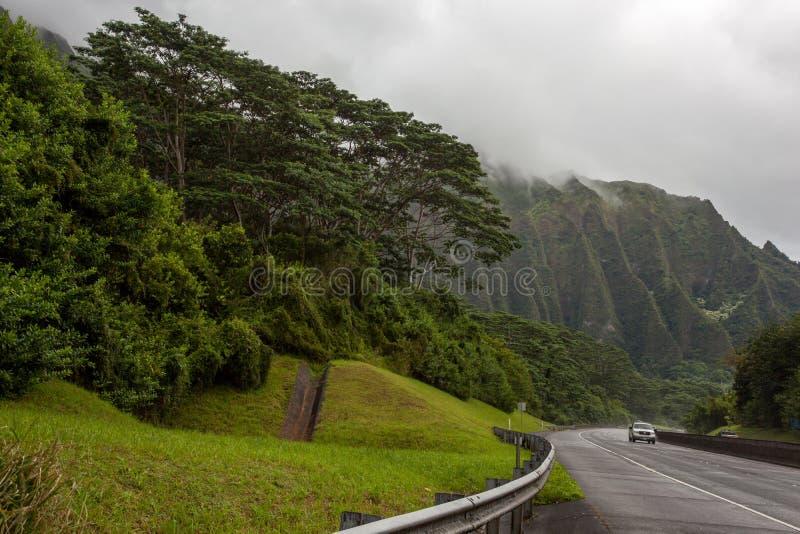 Όμορφος φυσικός αυτοκινητόδρομος προσήνεμο Oahu Χαβάη H3 στοκ εικόνα