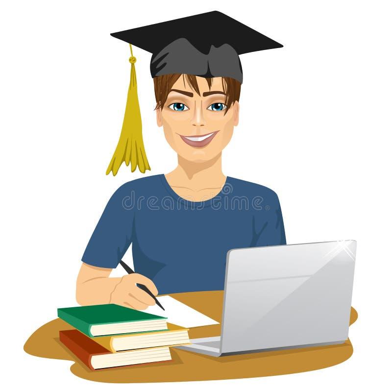Όμορφος χαμογελώντας άνδρας σπουδαστής που χρησιμοποιεί τη σε απευθείας σύνδεση υπηρεσία εκπαίδευσης διανυσματική απεικόνιση