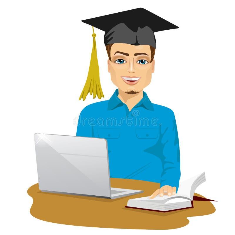 Όμορφος χαμογελώντας άνδρας σπουδαστής που χρησιμοποιεί τη σε απευθείας σύνδεση υπηρεσία εκπαίδευσης απεικόνιση αποθεμάτων