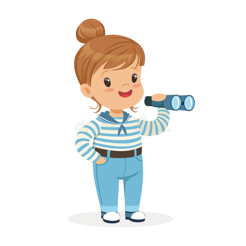 Όμορφος χαρακτήρας μικρών κοριτσιών που φορά μια ναυτικών ζωηρόχρωμη διανυσματική απεικόνιση τηλεσκοπίων παιχνιδιών κοστουμιών πα απεικόνιση αποθεμάτων