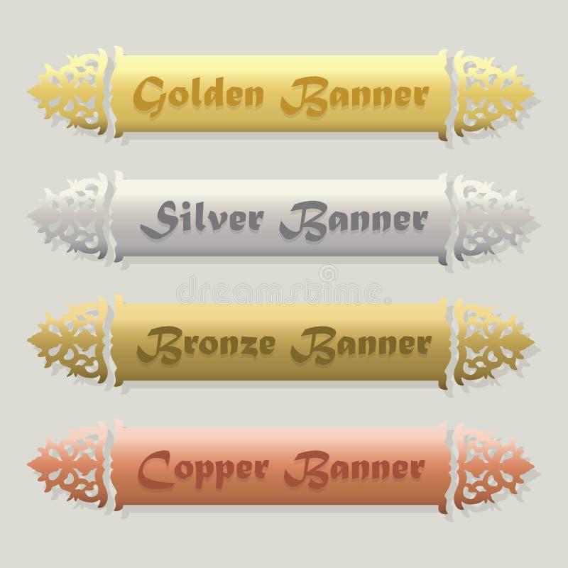 Όμορφος χρυσός, ασημένιος, χαλκός, και floral λοξευμένα εμβλήματα χαλκού καθορισμένα διανυσματική απεικόνιση