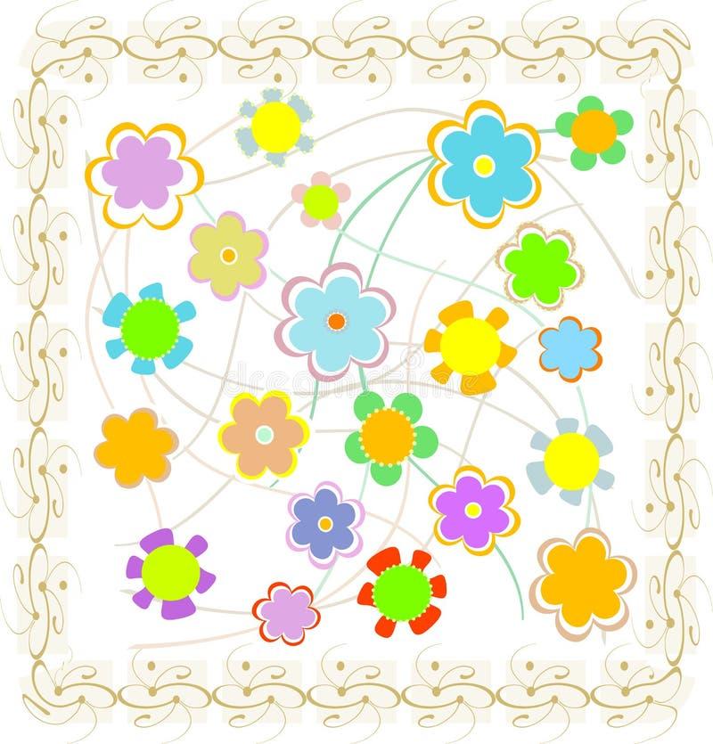 όμορφος χρυσός τρύγος πλαισίων λουλουδιών διανυσματική απεικόνιση